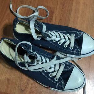 Blue hightop converse shoes